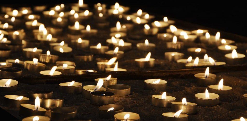 tea lights, church, light